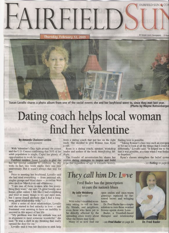 2/12/2009 - Dating Coach Helps Local Woman Find Her Valentine - Fairfield Sun