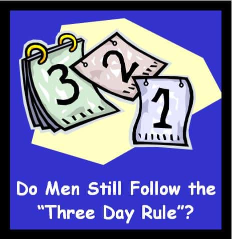 three day rule, dating coach, understanding men