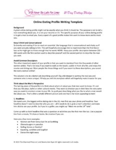 Online Dating Profile Writing Template - It\'s Never Too Late for Love
