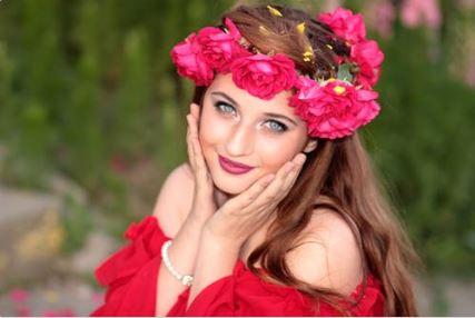 woman feminine in red flowers